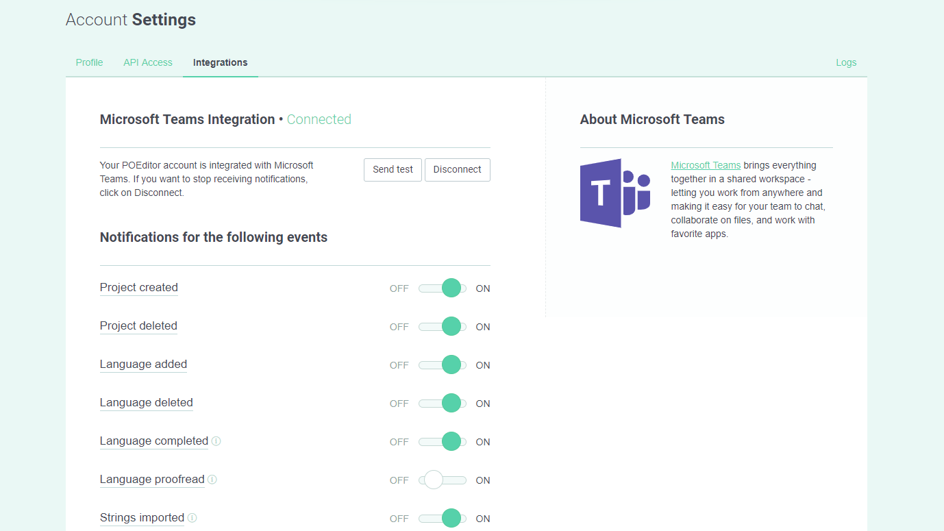 Microsoft Teams events (Integration page) - POEditor localization management platform