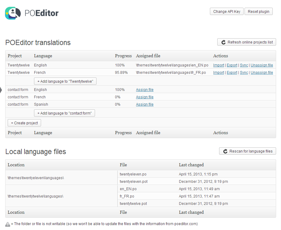 POEditor localization management plugin