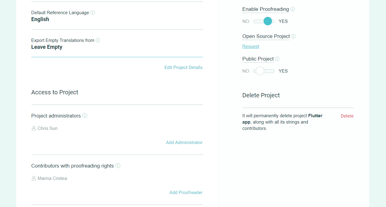 Admins and Proofreaders (Project Settings) - POEditor localization tool