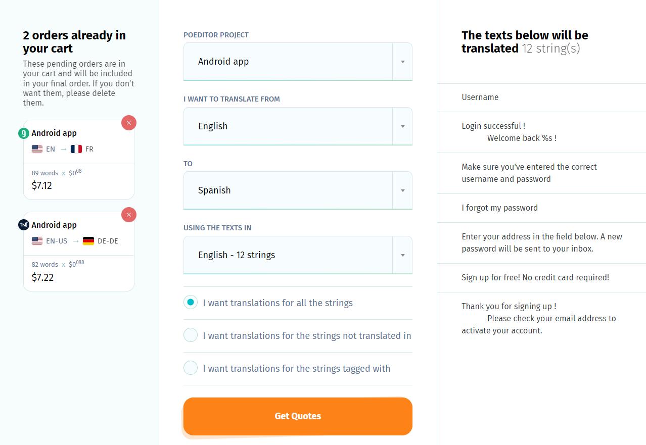 Add new translation order - POEditor localization platform