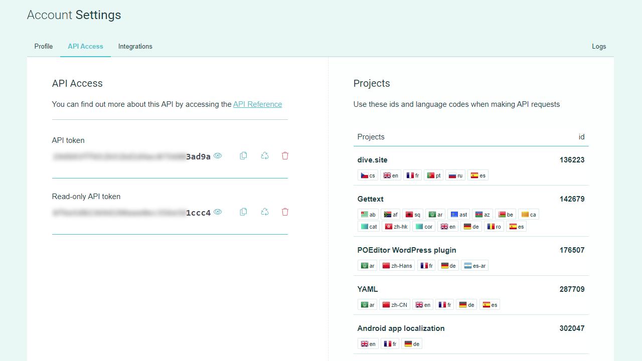 POEditor localization management platform - API