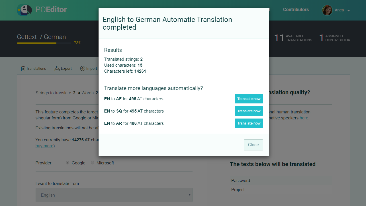 Machine translate more languages (Automatic Translation) - POEditor localization platform
