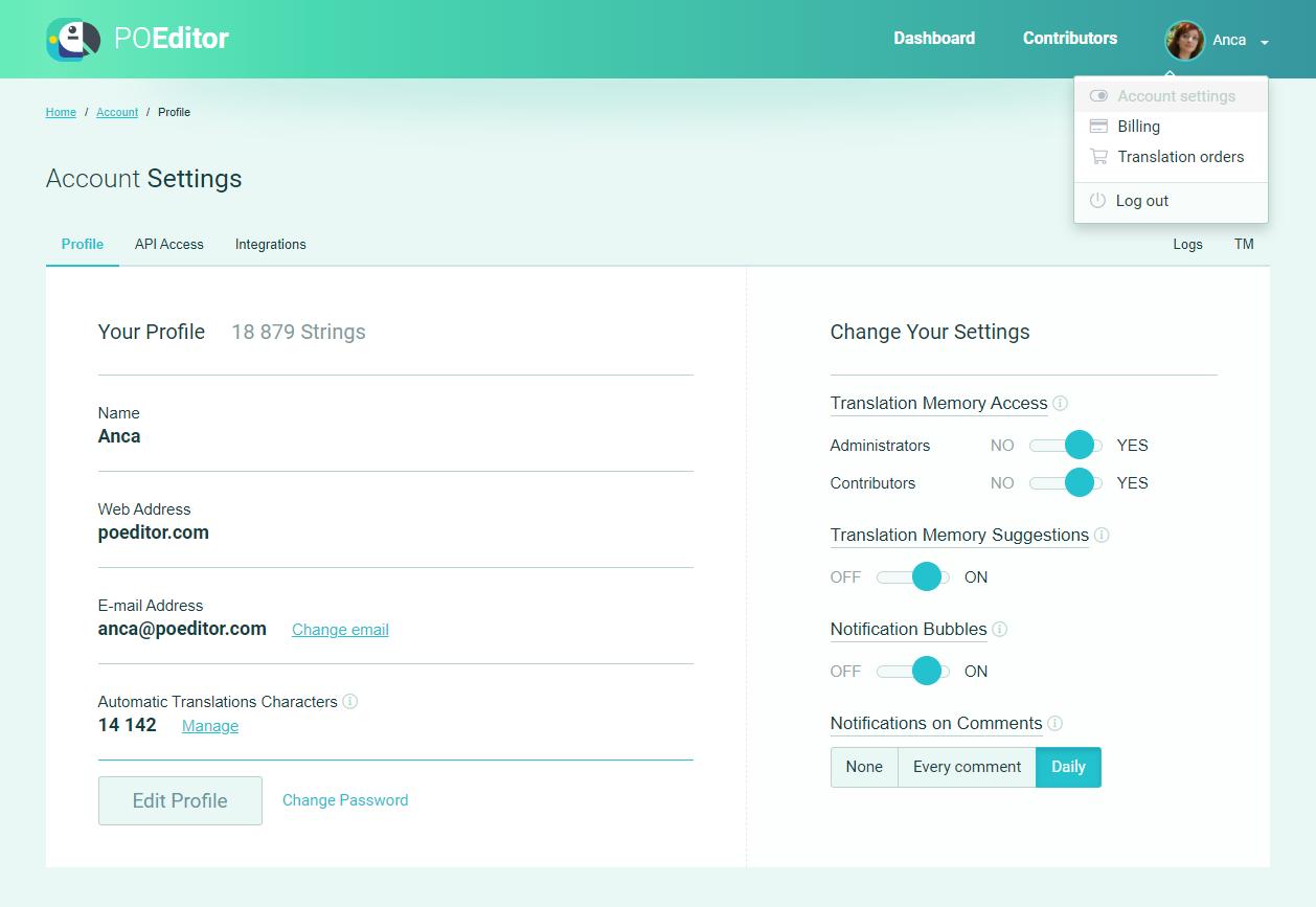 Translation Memory Settings (Account Settings) - POEditor localization platform