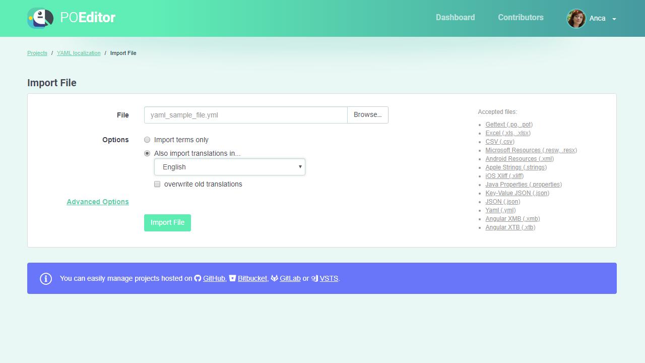Import YAML to localization project - POEditor translation management platform