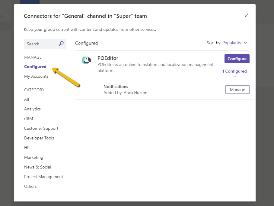 Manage configured connectors - POEditor translation management platform