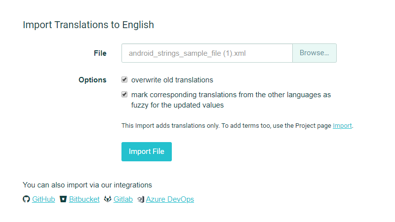 Import Translations form File (Language page) - POEditor Localization Platform