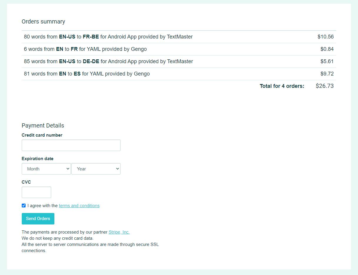 Send translation order(s) - POEditor translation management platform