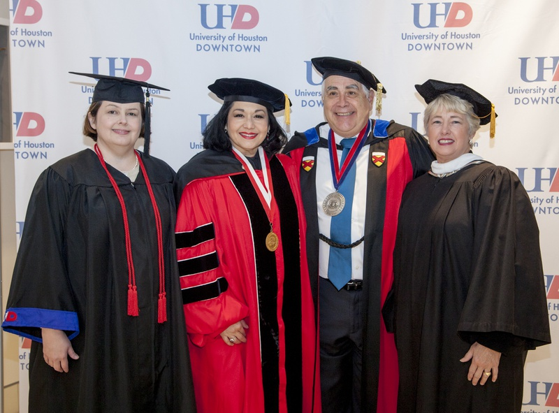 UHD celebrated its fall 2015 commencement Dec. 19. Before the ceremony, student speaker Stacee Uebele (from left) joins UH System Regent Paula Mendoza, UHD President Dr. William V. Flores and Houston Mayor Annise Parker.