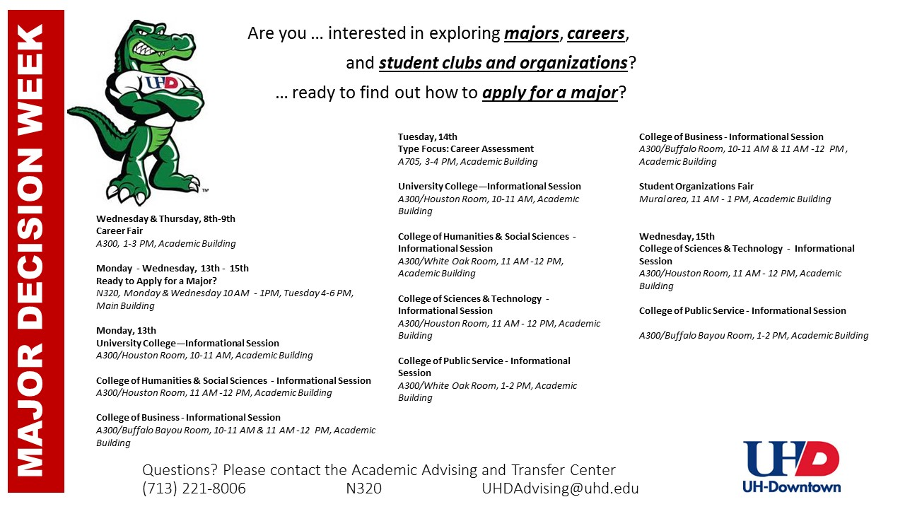 Advising and Transfer Center Major Decision Week