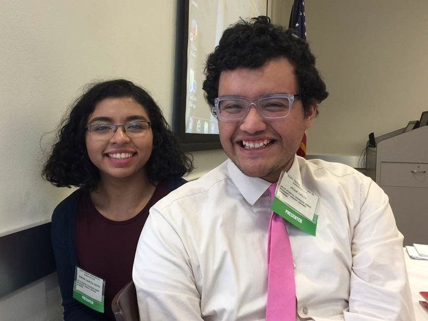 Aimee Garcia Soto (left) and Juan Leija (right) prepare to present their first conference papers.