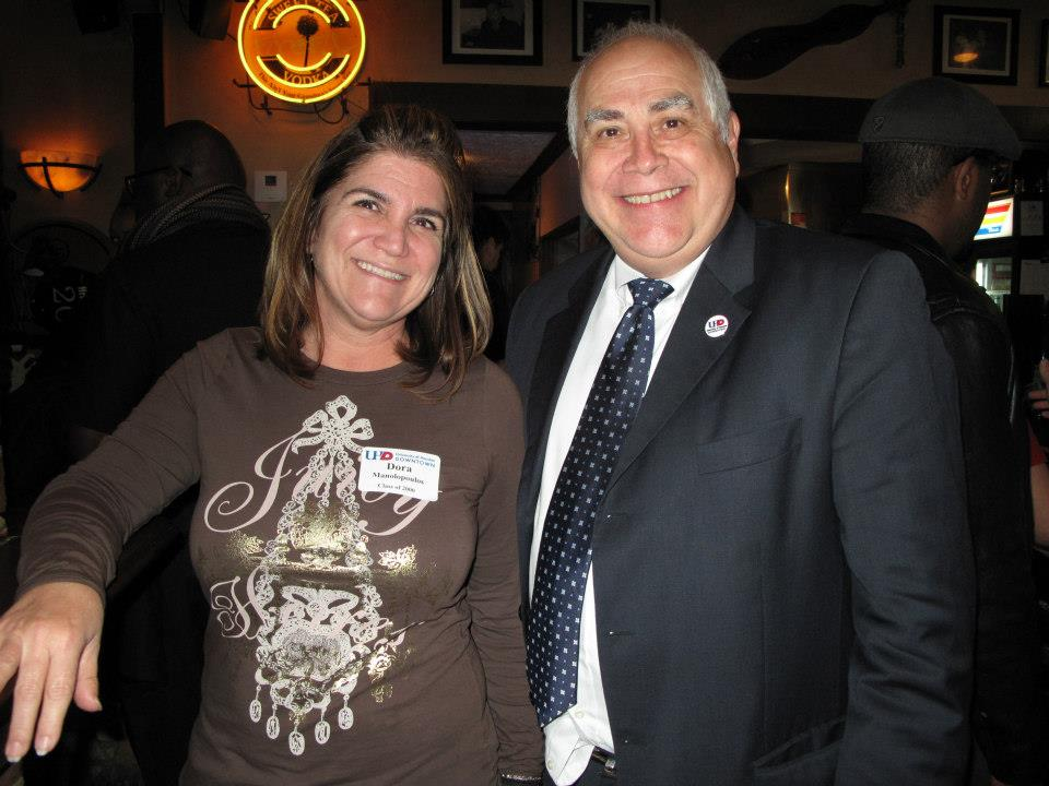 President Flores with alumna and Byzantio Cafe owner Dora Giannakopoulos.