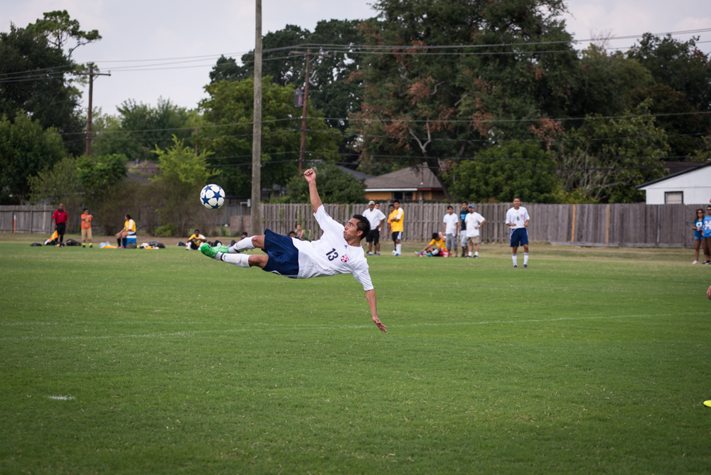 Andy Andrade attempts a bicycle kick against HCC-NW