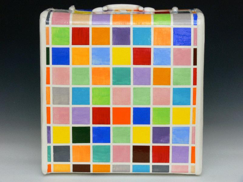 David Bogus   Optimist Luggage #15 Earthenware, Slipcast, Underglaze, Glaze2012