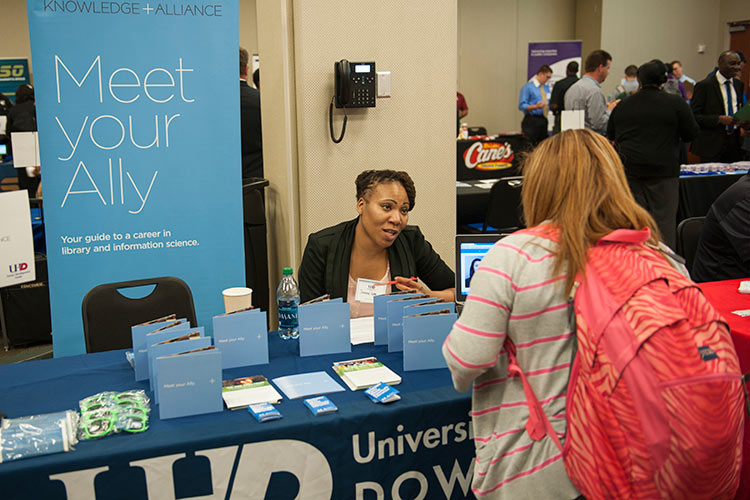 UHD students meet with employers at 2014 career fair