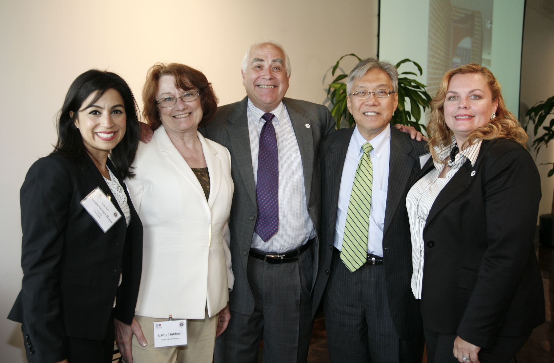 (From left to right):  Claudia Ortega-Hogue, Kathy Hubbard, Dr. Bill Flores, Gordon Quan and Dr. Noël Bezette-Flores gathered at UHD this week for Houston's Citizenship Month 2013 luncheon.