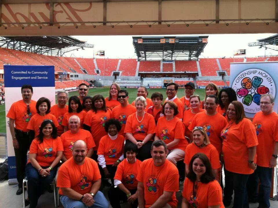 Mayor Annise Parker, center, attended the Houston Dynamo game last weekend to promote Citizenship Month participation.