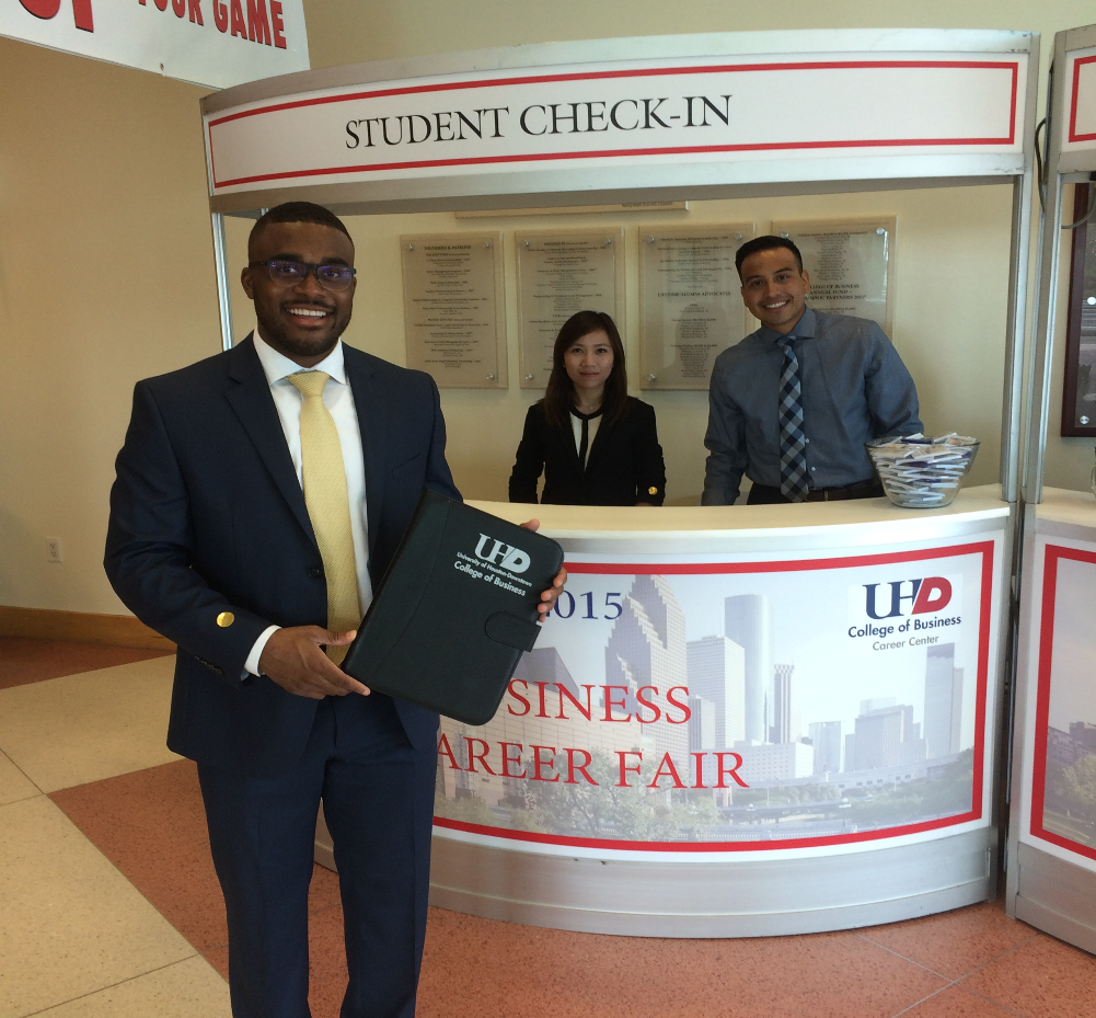 The COB Career Center provides a gift for the first student to arrive at each career fair. Accounting major Jason Dawkins was last week's winner.