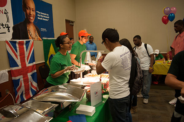 Students sample ethnic food at Culture on the Bayou.