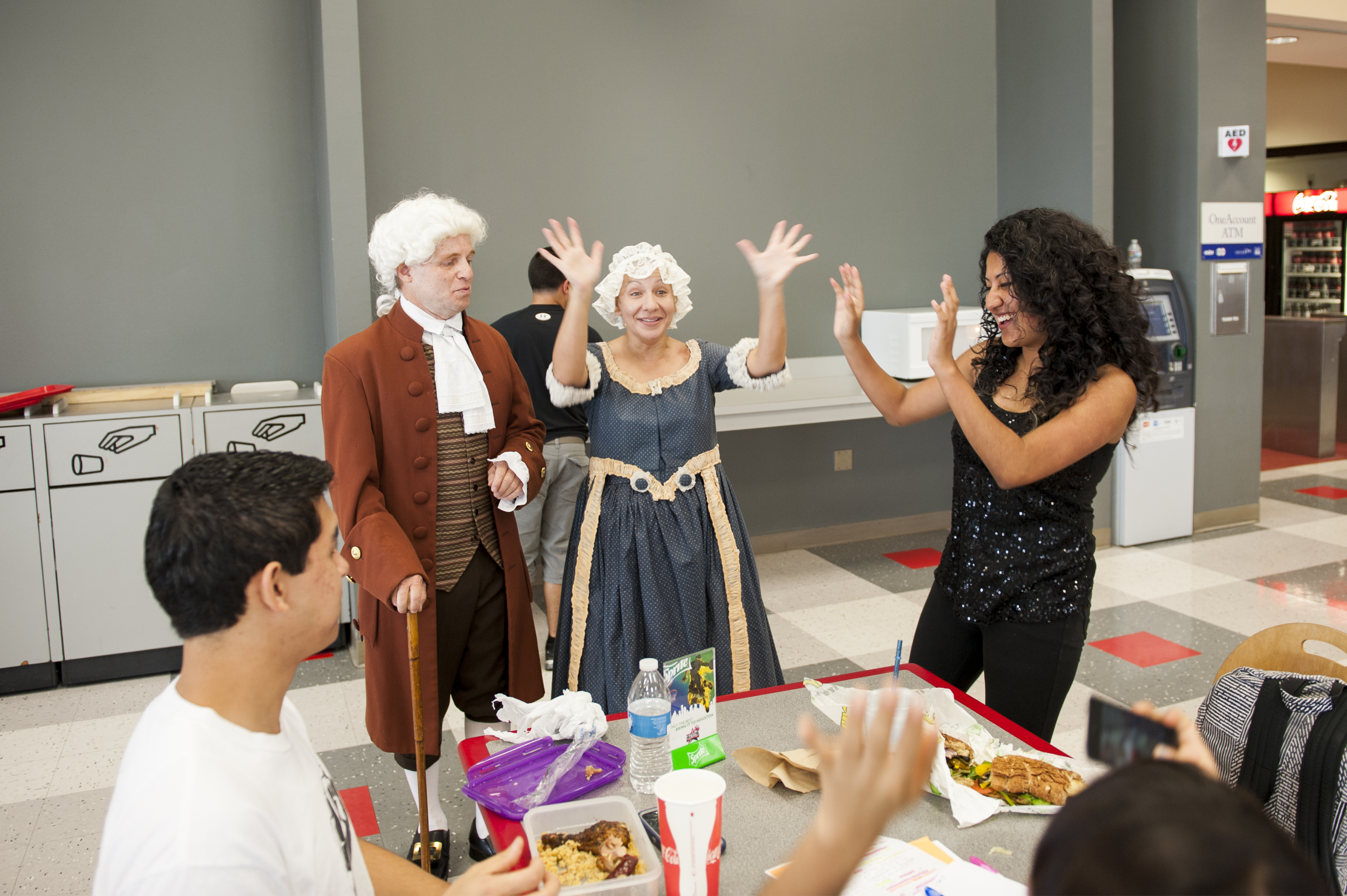 Benjamin Franklin and John and Abigail Adams visited UHD for Constitution Day UHD.