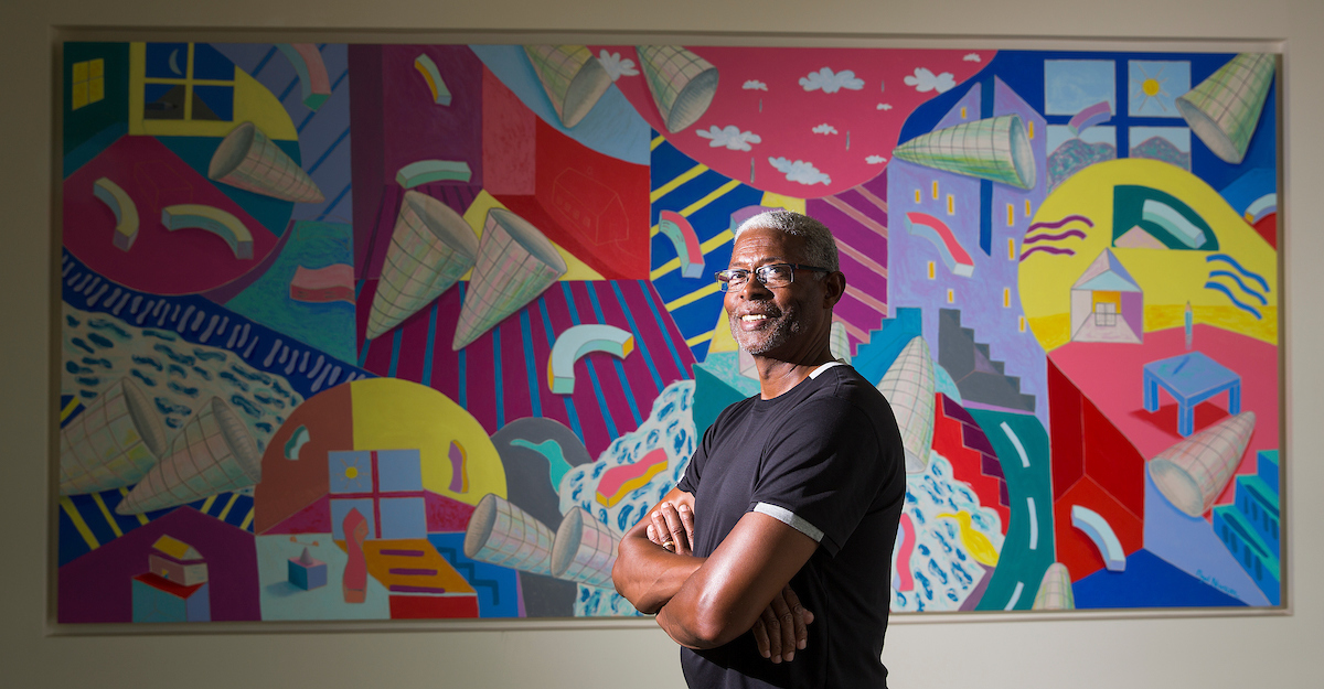 8/30/16 : UHD art teacher and artist Floyd Newsum poses with his painting Contemplation Success in the Commerce Building on UHD campus in Houston, TX. News has two painting in the Smithsonian Museum in Washington, DC. Photo by Thomas B. Shea / UHD Staff