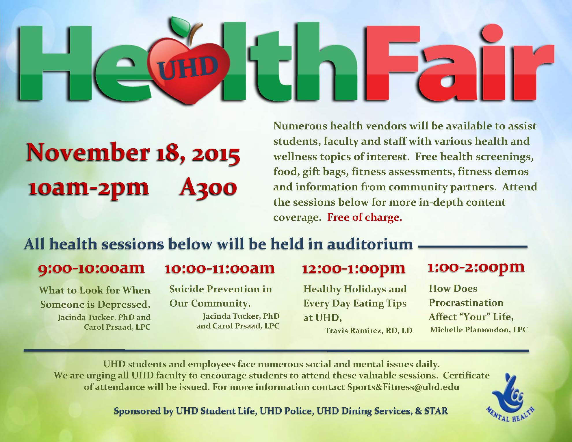 Health Fair Workshops Flyer