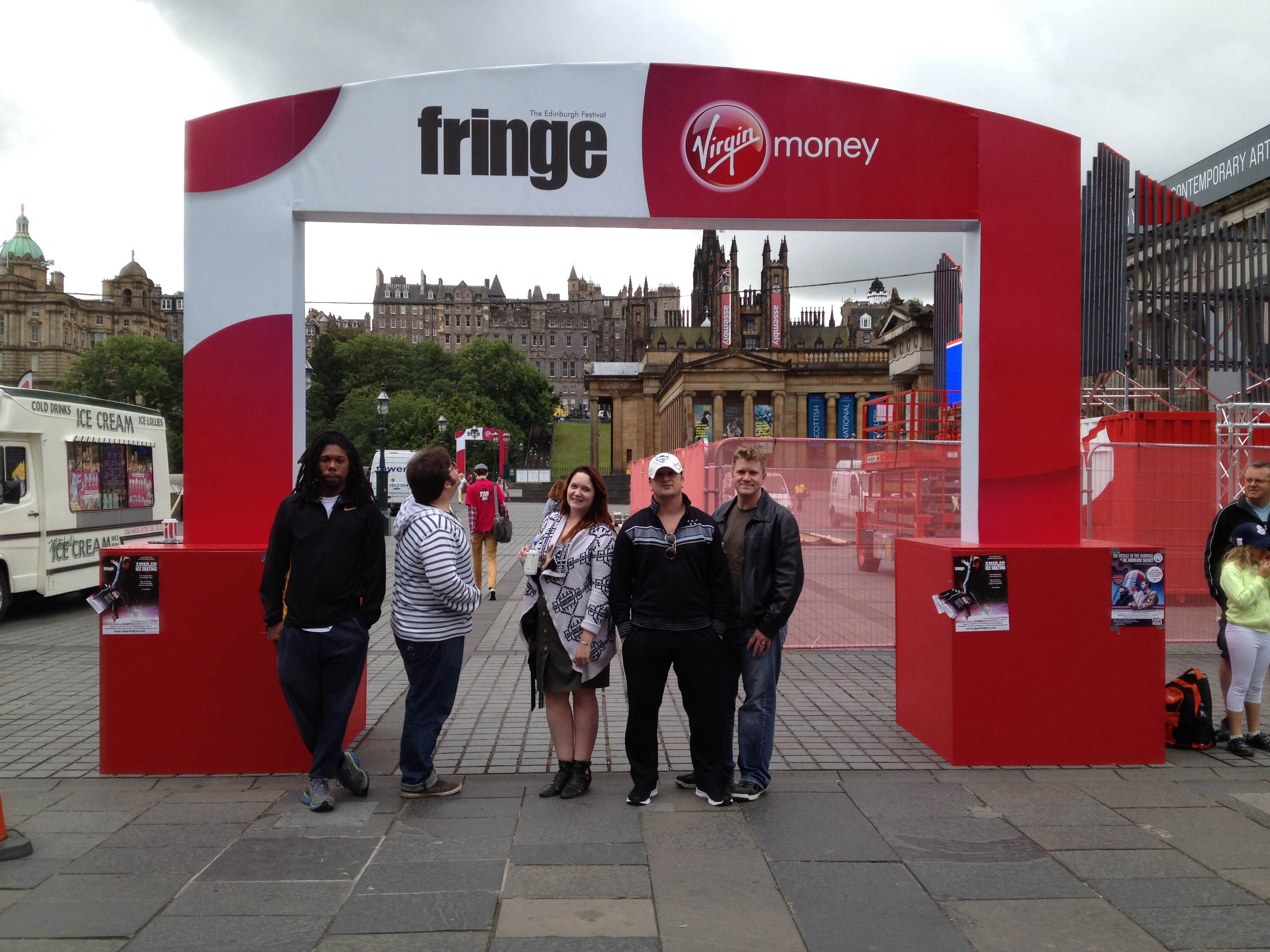 Students at the Fringe Festival arch.