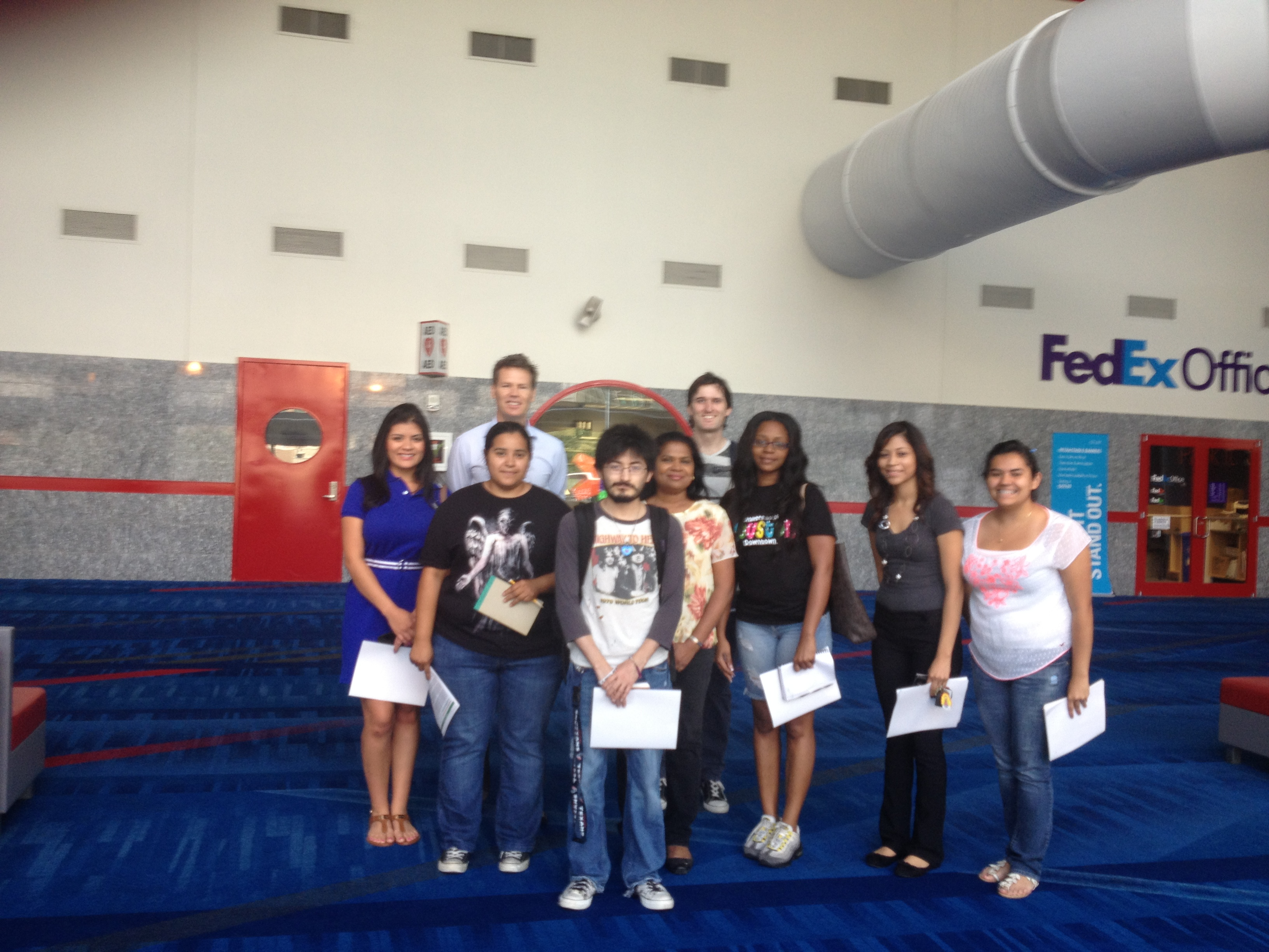 Urban ed students tour the George R. Brown Convention Center.