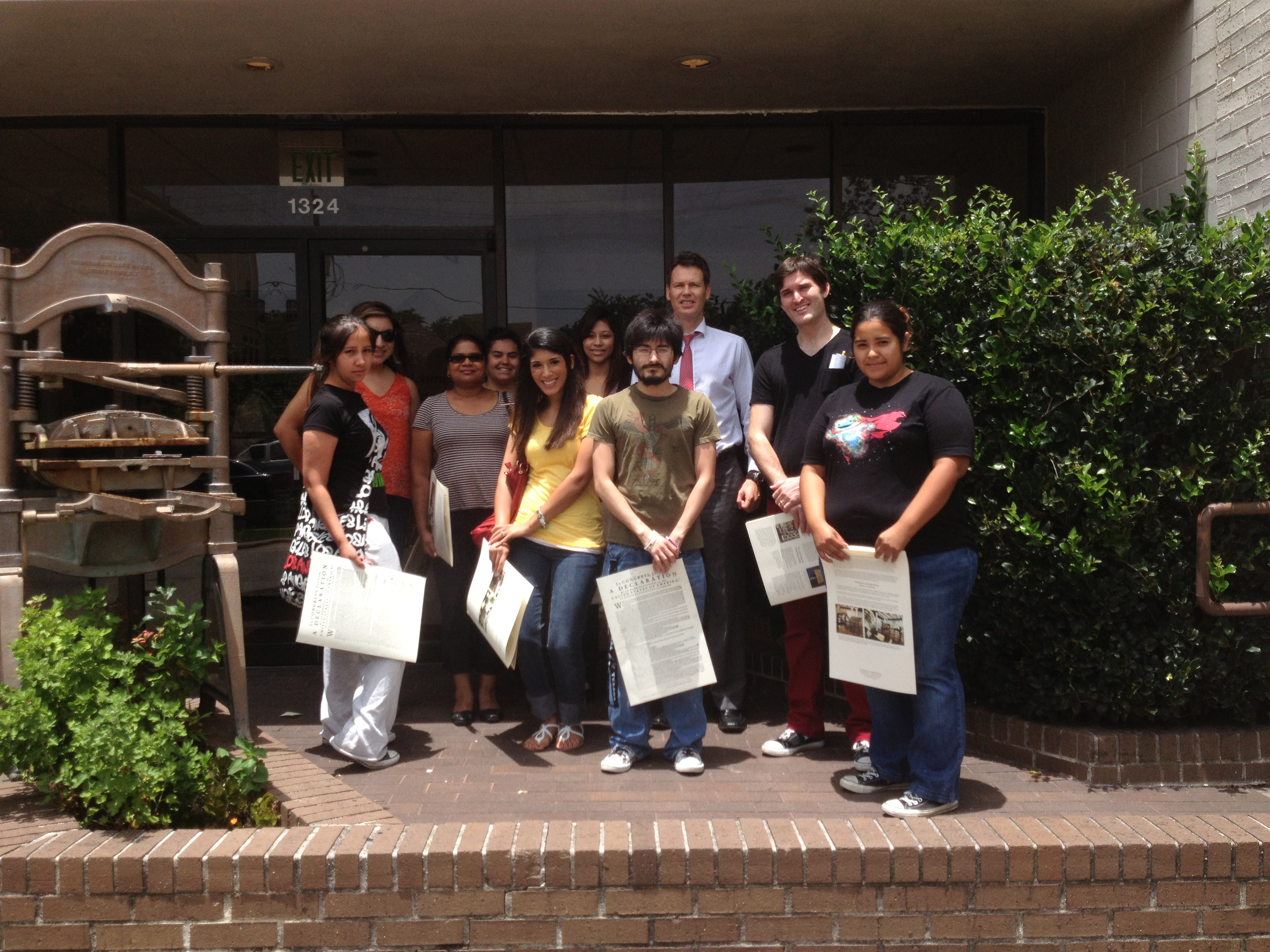 Urban Education students and Assistant Professor Colin Dalton at the Museum of Printing History