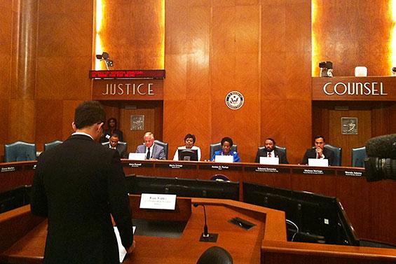 SGA President Isaac Valdez testified before Houston's congressional hearing on comprehensive immigration reform. (Photo credit: Michellee Gutierrez, SGA representative)