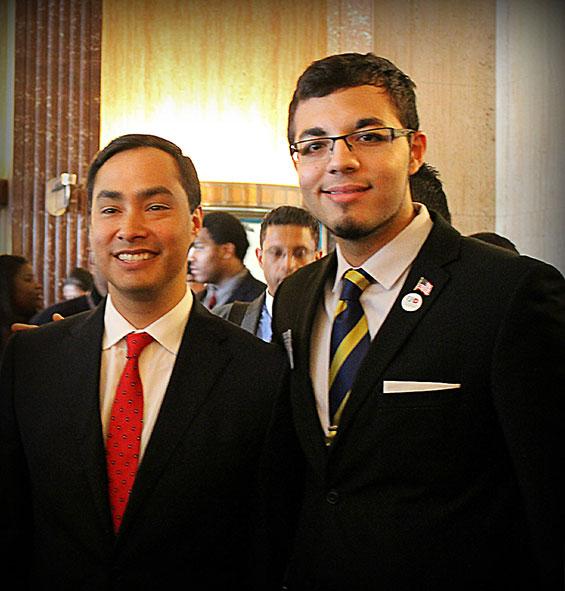 U.S. Congressman Joaquin Castro (left) and SGA President Isaac Valdez participated in this week's comprehensive immigration reform hearing at City Hall. (Photo credit: Michellee Gutierrez, SGA representative)