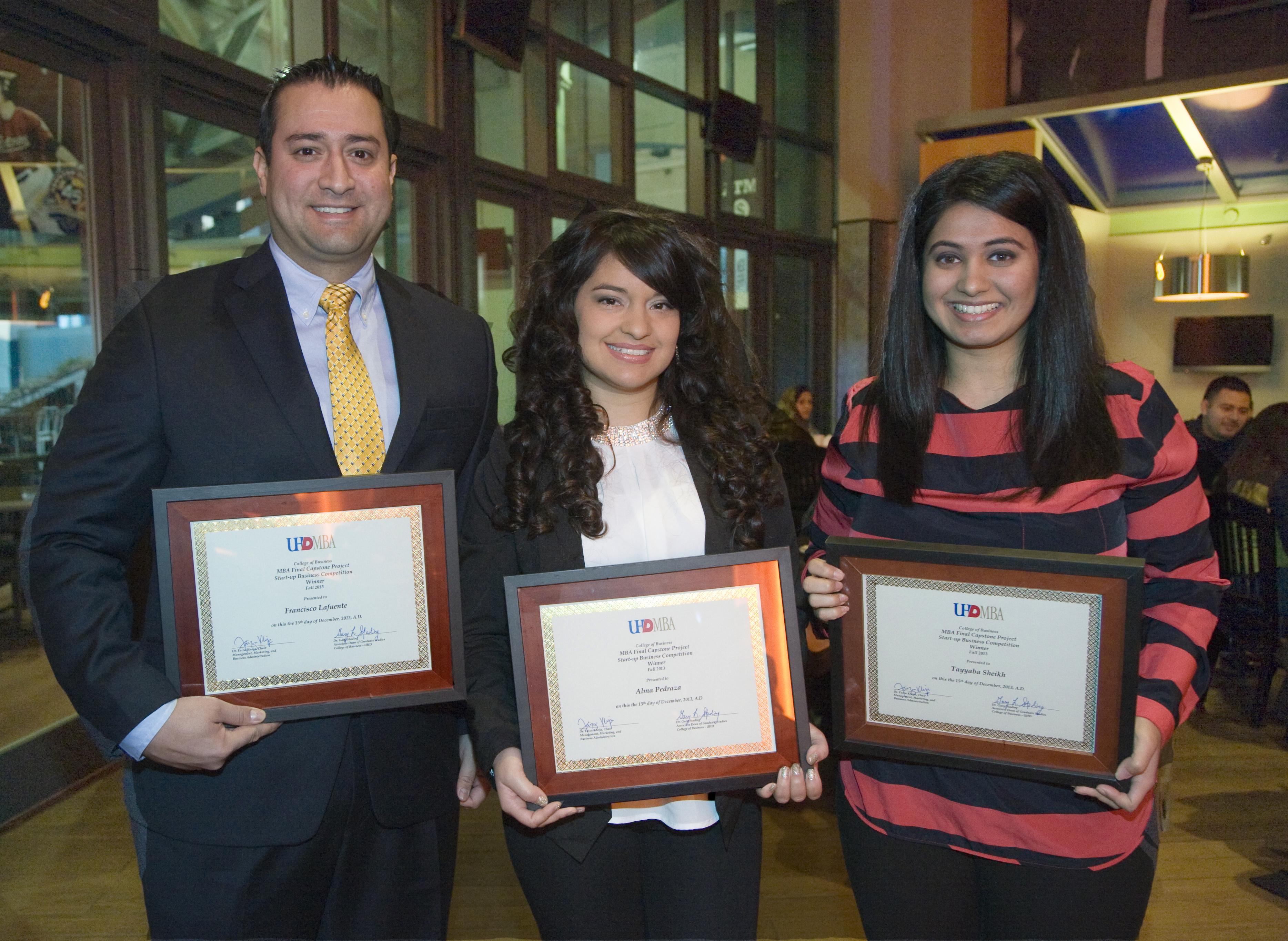 Winners Frank Lafuente, Alma Pedraza, Tayyaba Sheikh