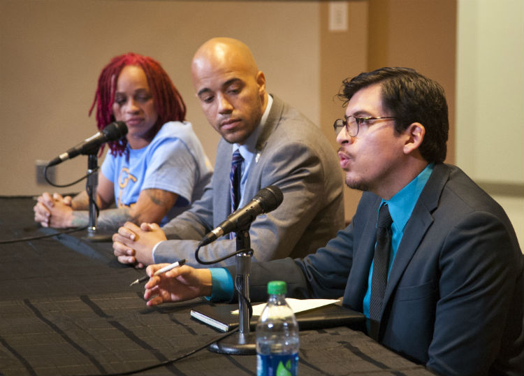 (left to right) UHD student and U.S. veteran Heidi Price, UHD Student Government President John Locke, and  Regional Director of Young Invincibles Jose Eduardo Sanchez participated in a panel discussion.