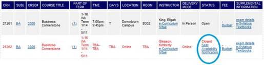online class schedule