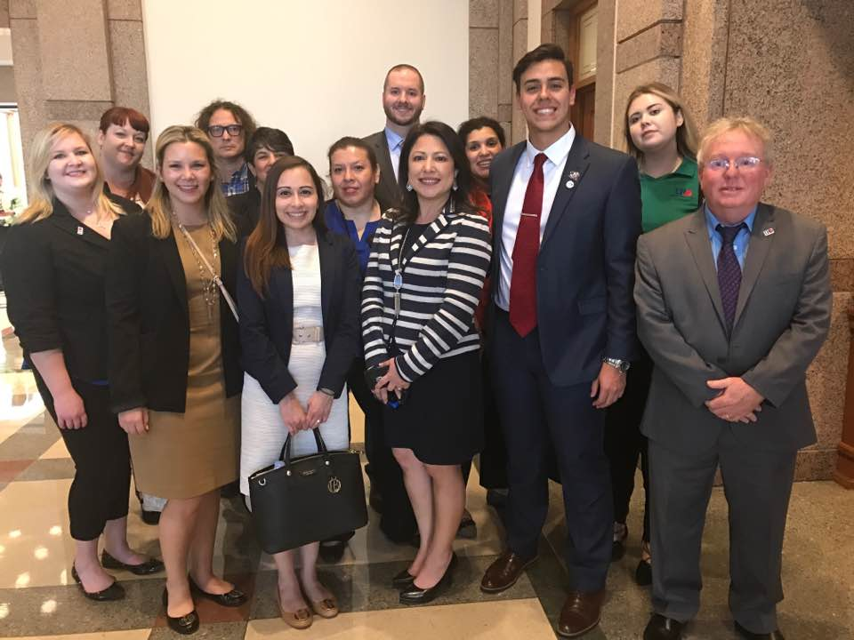 Rep. Mary Ann Perez took a short recess from a committee meeting to meet UHD Gators during their visit to Austin.
