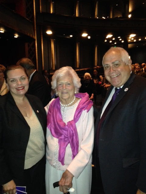 Dr. Noel Bezette-Flores, right, with former First Lady Barbara Bush, center, and UHD President Bill Flores.