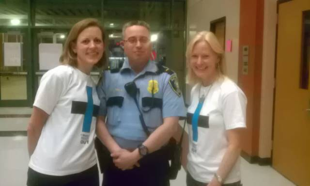 Officer Varela with +Works founders Sarah Fisher and Trish Morille.