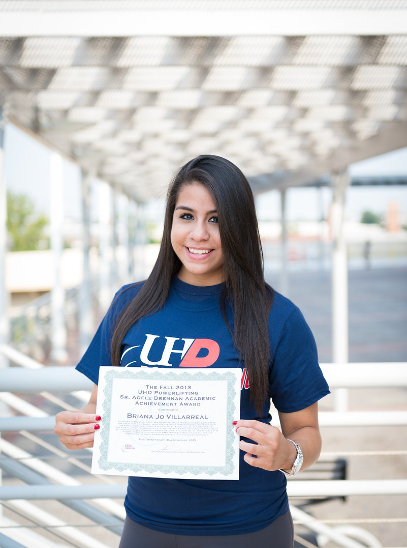 The University recently awarded Briana Jo Villarreal, co-captain of the UHD powerlifting team, with the Sister Adele Brennan Academic Achievement Award.