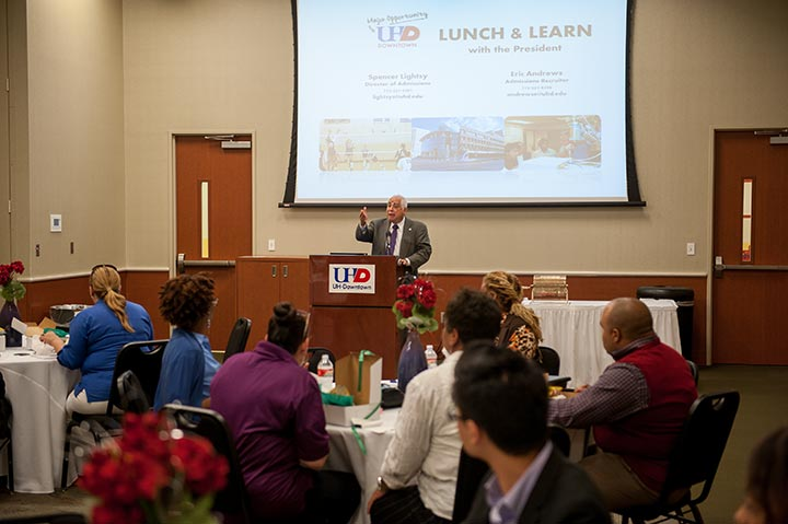 UHD President Flores hosted a lunch and learn event for prospective students.