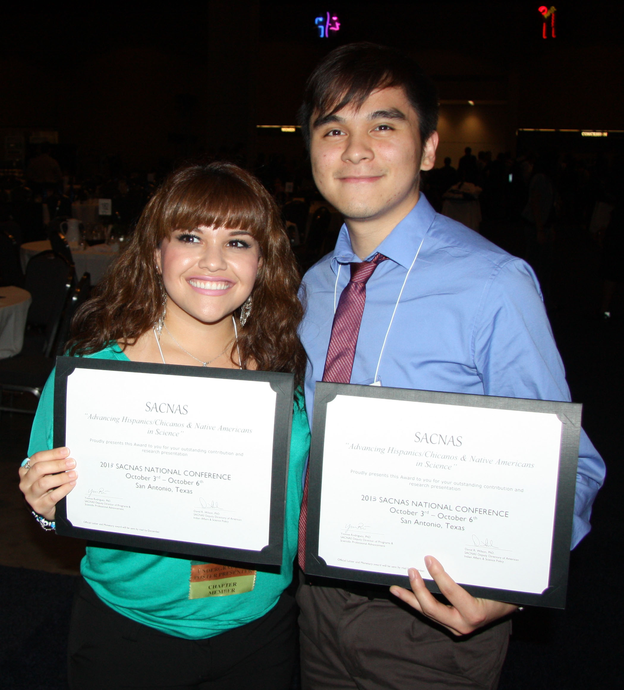 Rebecca Barbosa and Dat Truong - SACNAS Conference Winners