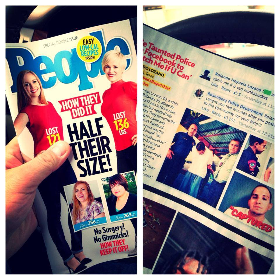 People Magazine's story on the Rosenberg Police Department's apprehension of a suspect with help from social media.