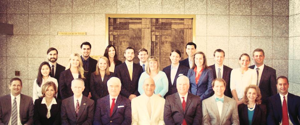 UHD alumna Sarah Hirsch is pictured here (second row, second on the left) with the current class of interns with the Supreme Court of Texas.