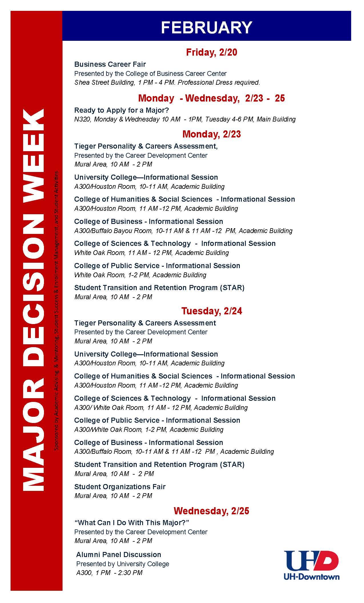 Spring 2015 Major Decision Week
