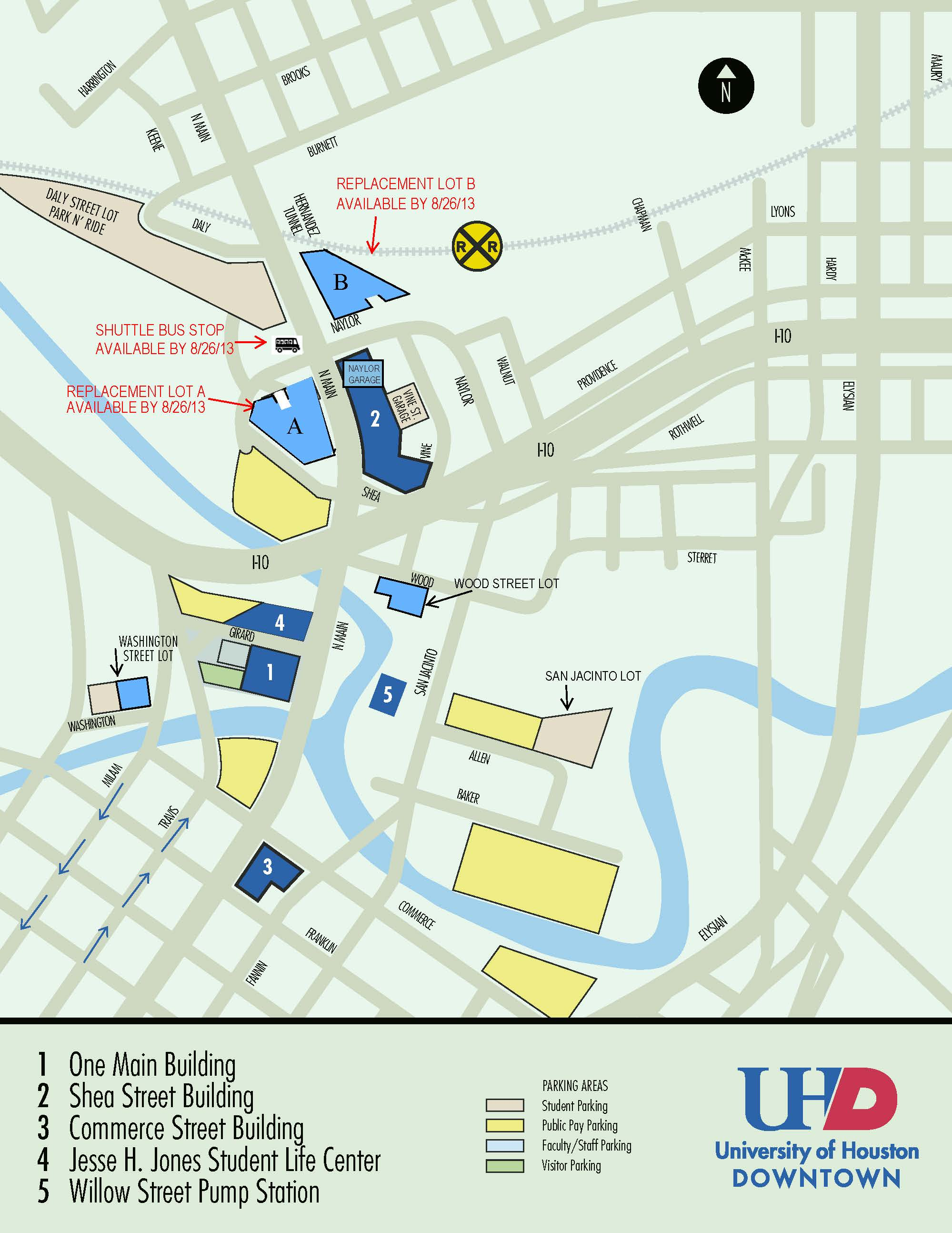 UHD Parking Map with Replacement Lot Locations