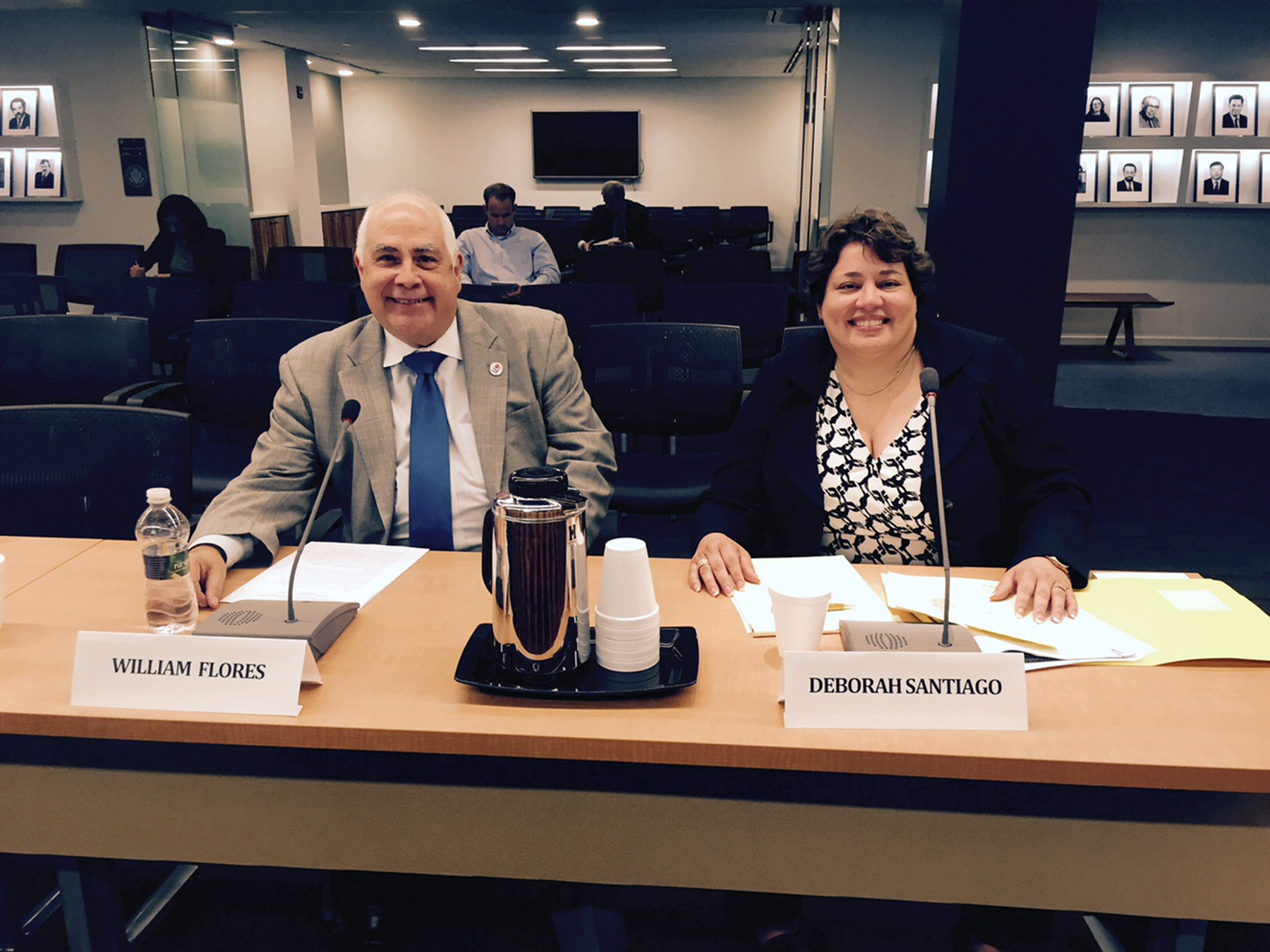 Bill Flores, Ph.D., (left), president of the University of Houston-Downtown (UHD) and secretary of the Hispanic Association of Colleges and Universities (HACU) board of directors, prepares to testify at a U.S. Commission on Civil Rights briefing on Thursday, May 28 in Washington, D.C. He is joined by Deborah Santiago, chief operating officer and vice president for policy at Excelencia in Education, for the briefing on the effect of college access, persistence and completion rates on the socioeconomic mobility of minorities.
