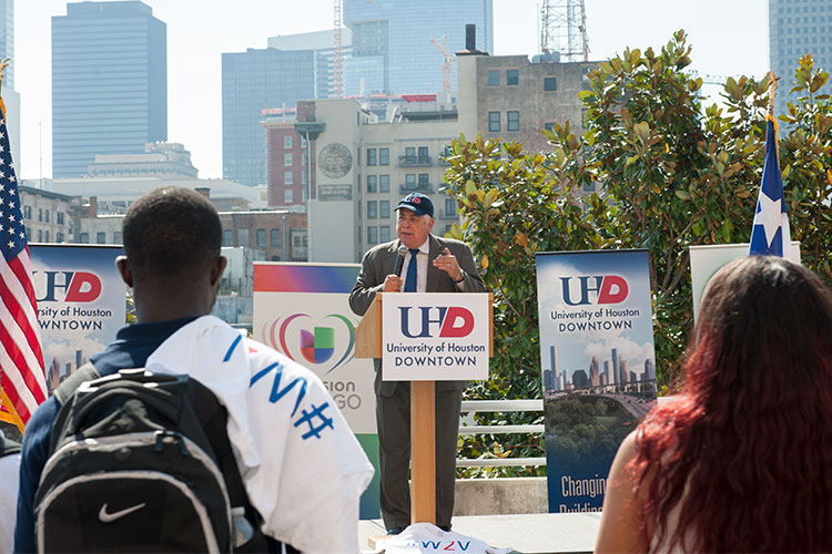 UHD President Dr. Bill Flores at the 2015 Walk 2 Vote event.