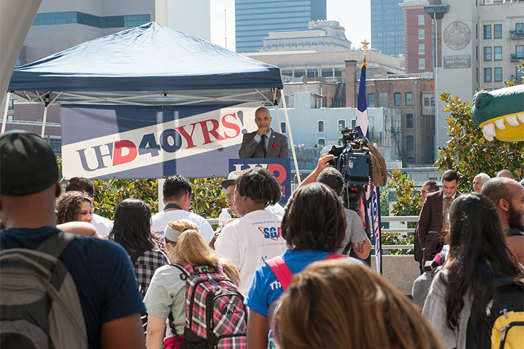 UHD Student Government Association President John Locke addresses the crowd at Thursday's Walk 2 Vote rally.