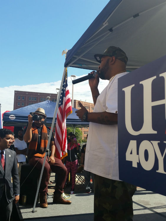 Hip-Hop Artist Bun B speaks to the audience Thursday's Walk 2 Vote rally.