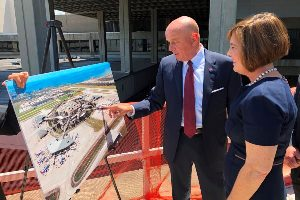 TPA CEO Joe Lopano shows U.S. Rep. Kathy Castor rendering