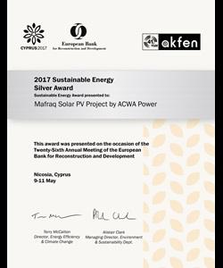 EBRD Sustainable Energy Silver Award, Mafraq Solar PV - Jordan