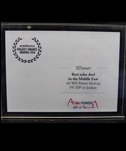 EMEA FINANCE – PROJECT FINANCE AWARDS 2016 – BEST SOLAR DEAL IN THE MIDDLE EAST – ACWA POWER MAFRAQ PV IPP IN JORDAN